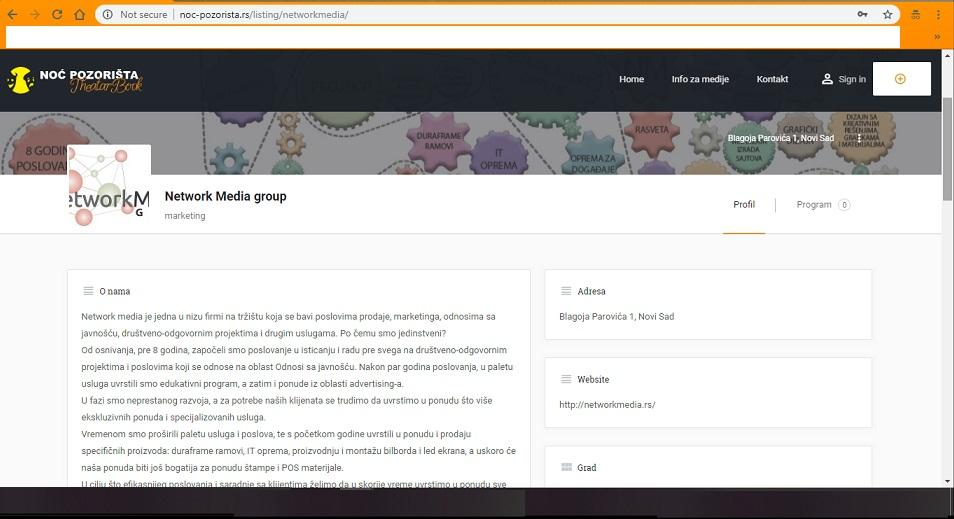 Pozorišni klub profil firme 1